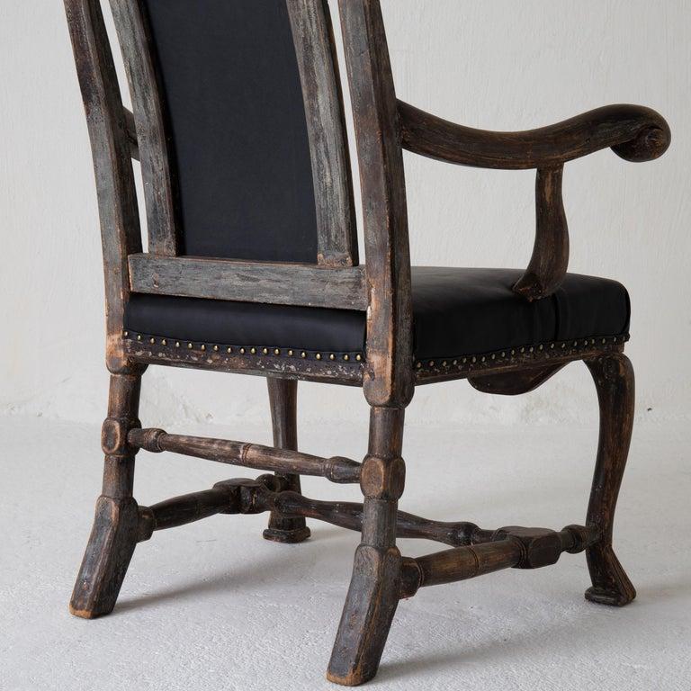 Chair Armchair Swedish Baroque Black Original Paint, Sweden For Sale 9
