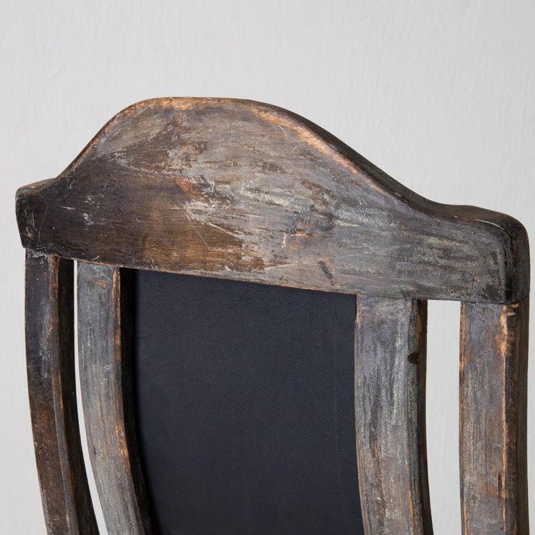 Chair Armchair Swedish Baroque Black Original Paint, Sweden For Sale 10