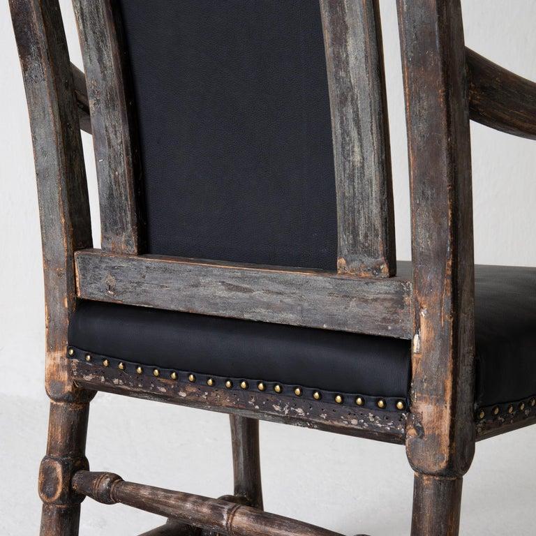 Chair Armchair Swedish Baroque Black Original Paint, Sweden For Sale 11
