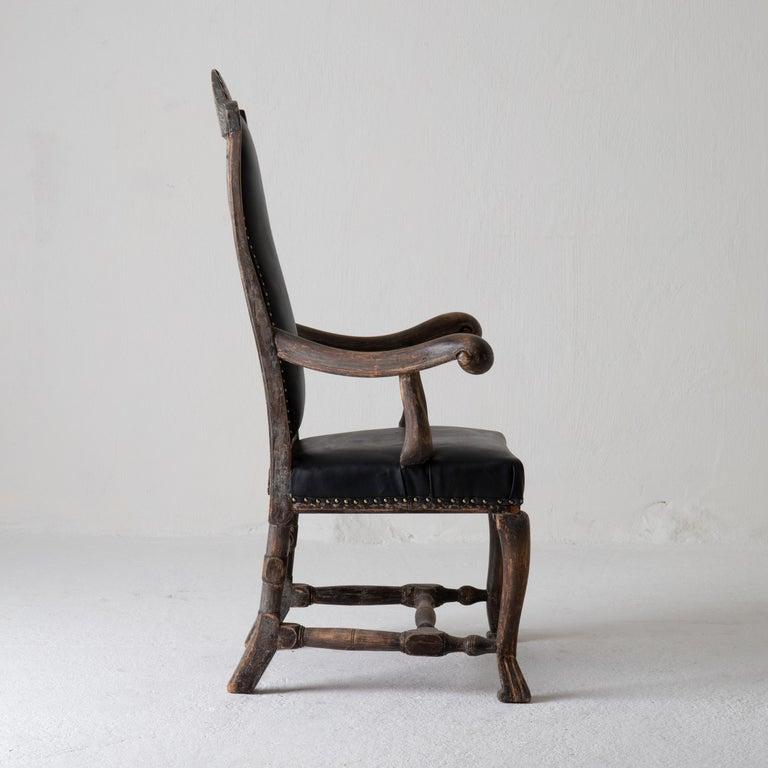 Chair Armchair Swedish Baroque Black Original Paint, Sweden For Sale 12