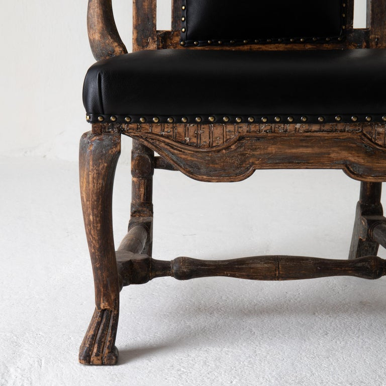 18th Century Chair Armchair Swedish Baroque Black Original Paint, Sweden For Sale