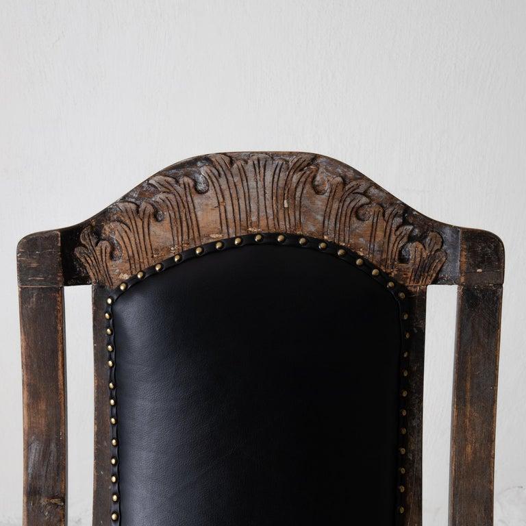 Wood Chair Armchair Swedish Baroque Black Original Paint, Sweden For Sale