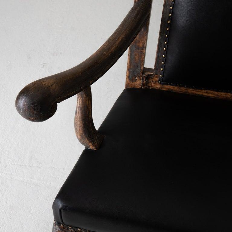 Chair Armchair Swedish Baroque Black Original Paint, Sweden For Sale 1