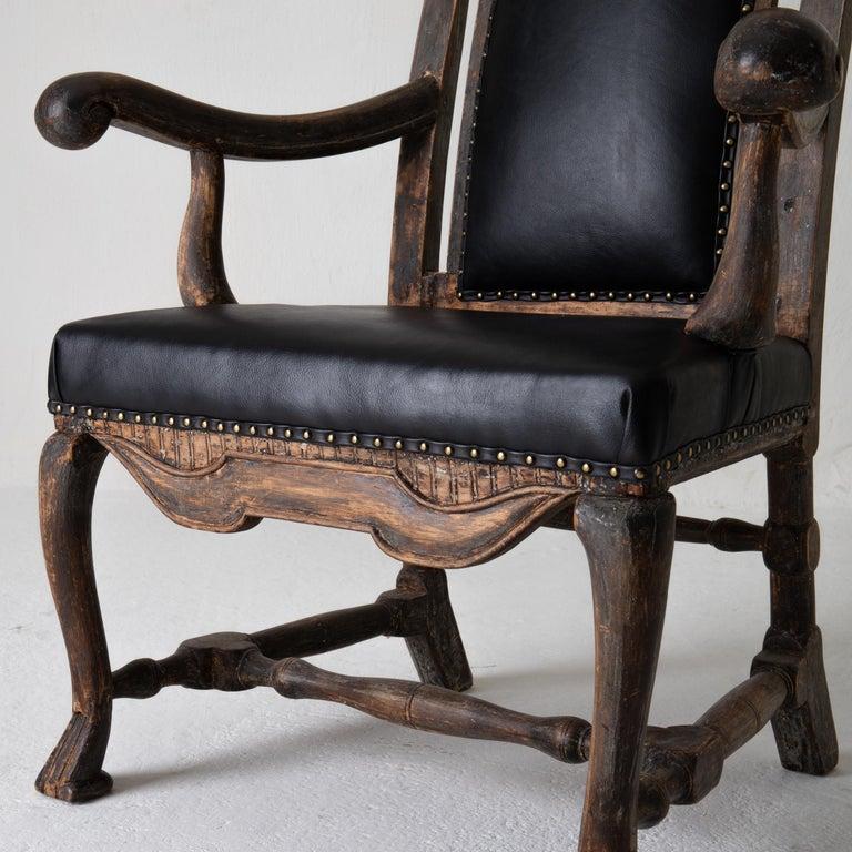 Chair Armchair Swedish Baroque Black Original Paint, Sweden For Sale 3