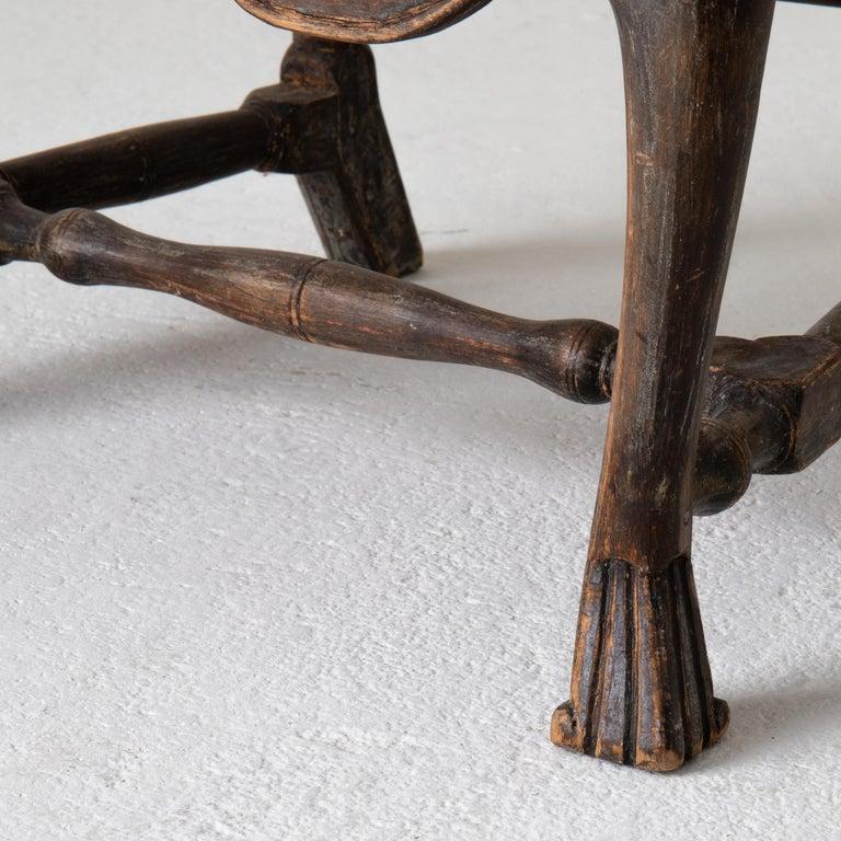 Chair Armchair Swedish Baroque Black Original Paint, Sweden For Sale 4