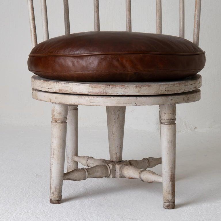 Chair Armchair Swivel Swedish Gustavian White, Sweden For Sale 5