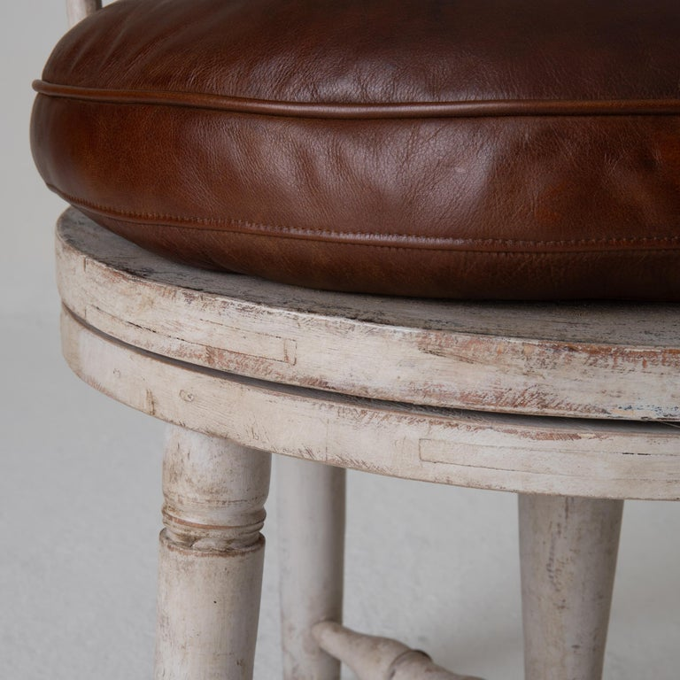 Chair Armchair Swivel Swedish Gustavian White, Sweden For Sale 6
