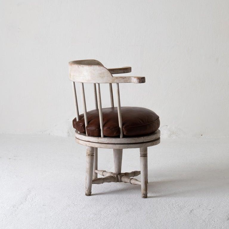 18th Century Chair Armchair Swivel Swedish Gustavian White, Sweden For Sale