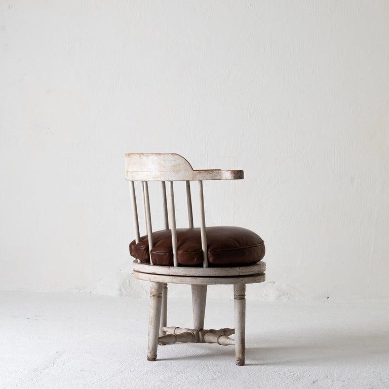 Wood Chair Armchair Swivel Swedish Gustavian White, Sweden For Sale