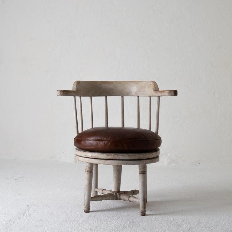 Chair Armchair Swivel Swedish Gustavian White, Sweden For Sale 1