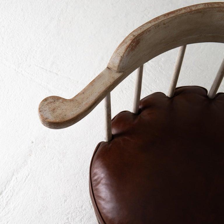 Chair Armchair Swivel Swedish Gustavian White, Sweden For Sale 2