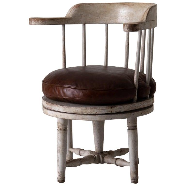 Chair Armchair Swivel Swedish Gustavian White, Sweden For Sale