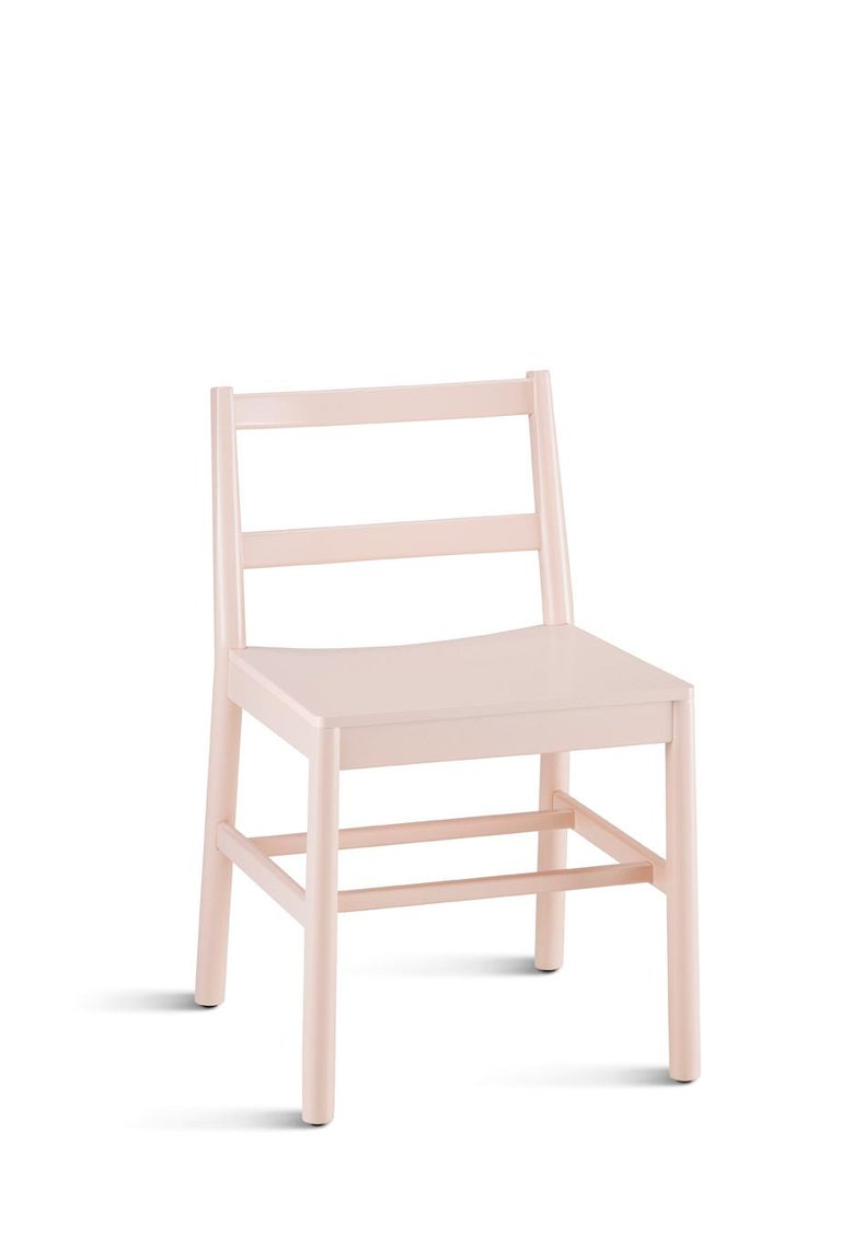 Chair Art, 0020-LE in Beechwood Painted and Wood Seat by Emilio Nanni For Sale 10