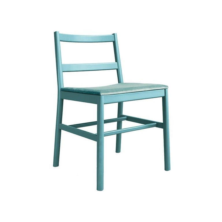 Chair Art, 0020-LE in Beechwood Painted and Wood Seat by Emilio Nanni In New Condition For Sale In MARANO VICENTINO, IT