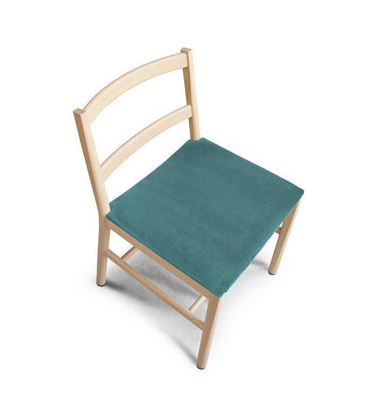 Contemporary Chair Art, 0020-LE in Beechwood Painted and Wood Seat by Emilio Nanni For Sale