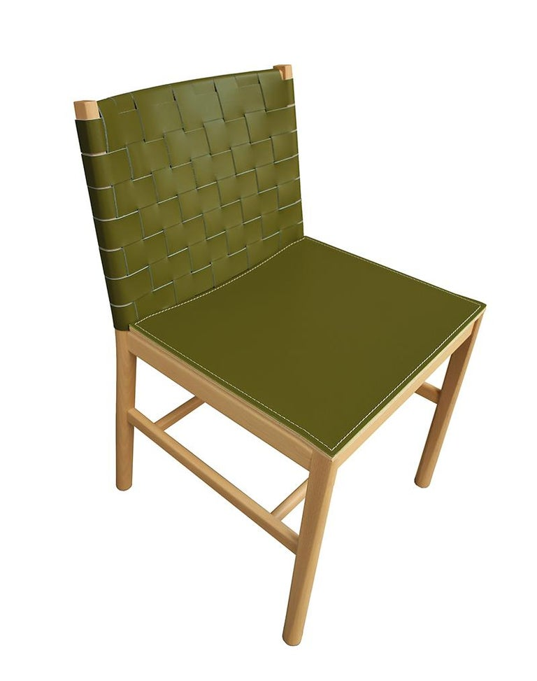 Chair Art, 0020-LE in Beechwood Painted and Wood Seat by Emilio Nanni For Sale 1