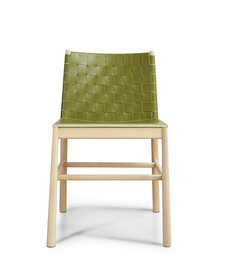 Chair Art, 0020-LE in Beechwood Painted and Wood Seat by Emilio Nanni For Sale 2