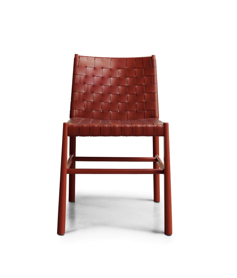 Modern Chair Art, 0023-CU Julie Beechwood Painted and Thick-Leather Different Colors For Sale