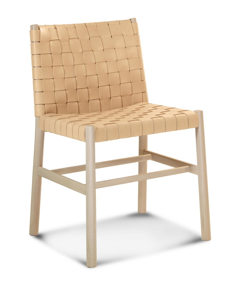 Italian Chair Art, 0023-CU Julie Beechwood Painted and Thick-Leather Different Colors For Sale