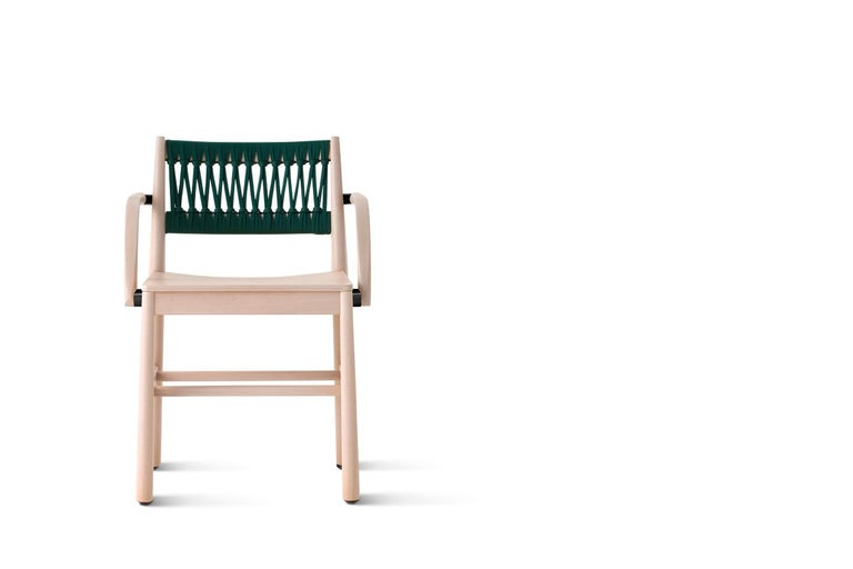 Chair Art, 0024-IN-AR in Beechwood Natural and Color Rope Back by Emilio Nanni In New Condition For Sale In MARANO VICENTINO, IT