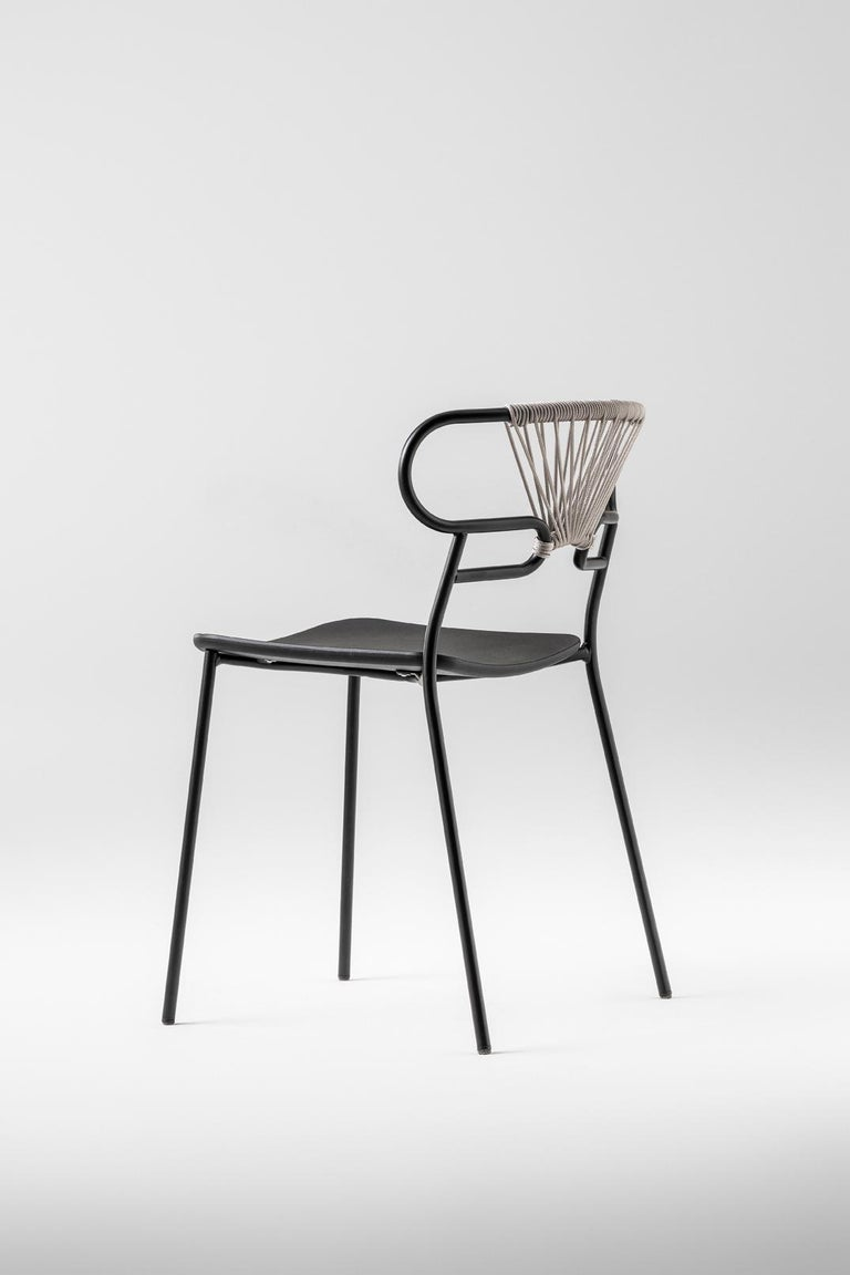 Modern Chair Art, 0047 Genoa Metal Frame Varnish and Back in Woven Rope For Sale