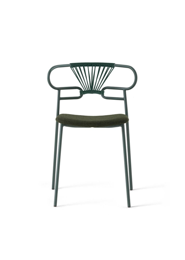 Italian Chair Art, 0047 Genoa Metal Frame Varnish and Back in Woven Rope For Sale