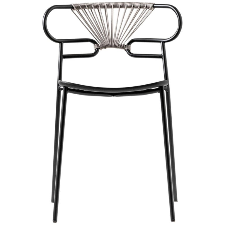 Chair Art, 0047 Genoa Metal Frame Varnish and Back in Woven Rope For Sale