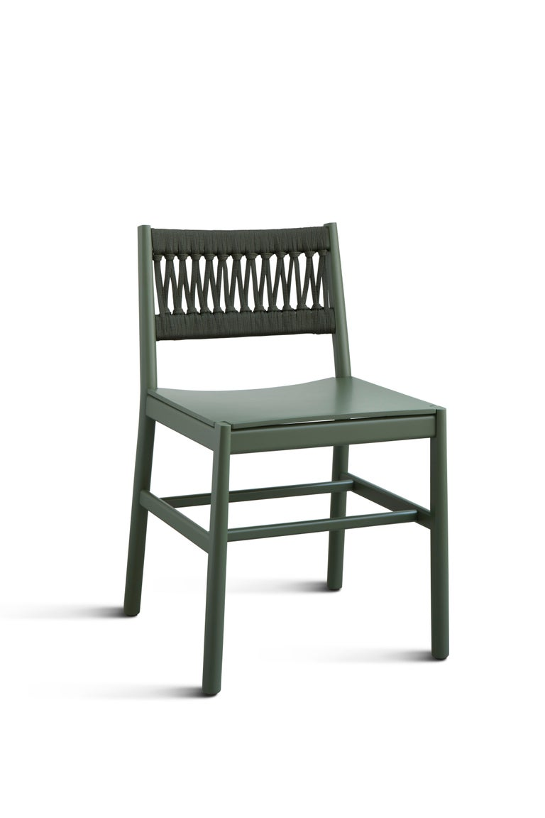 Contemporary Chair Art 024-IN Beechwood Painted Green and Back in Color Rope by Emilio Nanni For Sale