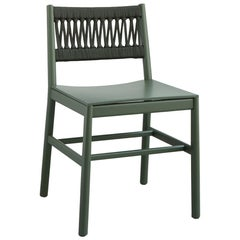 Chair Art 024-IN Beechwood Painted Green and Back in Color Rope by Emilio Nanni