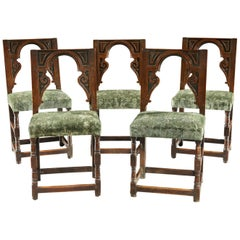 Chair Backstool Set of 5 Renaissance Oak English Architectural Velvet Sage Green