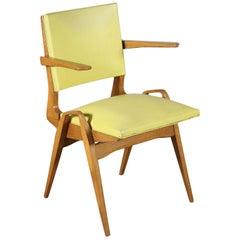 Chair Beech Foam Spring Skai, Italy, 1950s