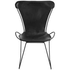 HUG Chair Black Smoke Steel and Vegetable Tanned Black Saddle Leather