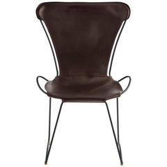 HUG Chair Black Smoke Steel and Vegetable Tanned Dark Brown Saddle Leather