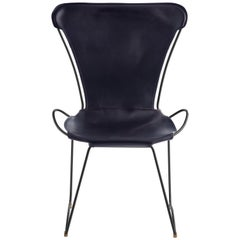 HUG Chair Black Smoke Steel and Vegetable Tanned Navy Saddle Leather