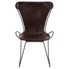 Chair Black Steel and  Dark Brown Saddle Leather