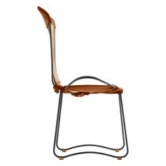 Chair, Black Steel and Tanned Natural Saddle Leather