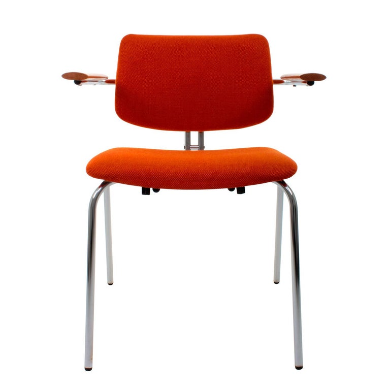 Chair by Duba Møbelindustri in the 1980s vintage dining chair with original orange wool upholstery, beech armrest and chromed legs in very good vintage condition.