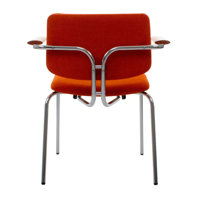 Space Age Chair by Duba, 1980s Vintage Dining Chair with Original Orange Wool Upholstery For Sale