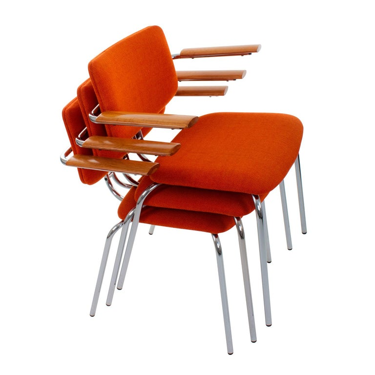 Chair by Duba, 1980s Vintage Dining Chair with Original Orange Wool Upholstery For Sale 1