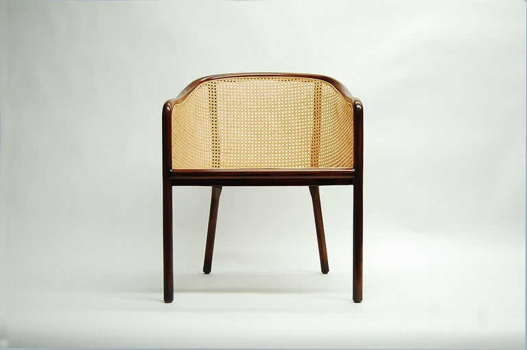 Chair in ash and cane designed by Ward Bennett, and produced by Brickel Associates, circa 1975. Newly caned. This is arguably Bennett's best chair design. Upholstered seat pad currently being re-upholstered. We can have the seat pad re-upholstered