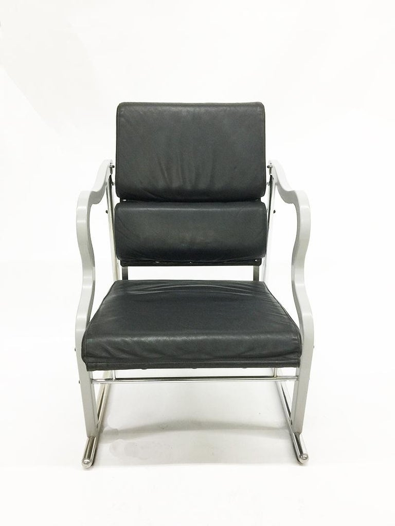 Chair By Yrjö Kukkapuro (1933 -), Experiment Series  Chair by Yrjö Kukkapuro from the Experiment Series for Avarte, Finland 1982.   Chrome tubalar frame with black lackered plywood seats and black leather upholstery, the armrest are made of grey