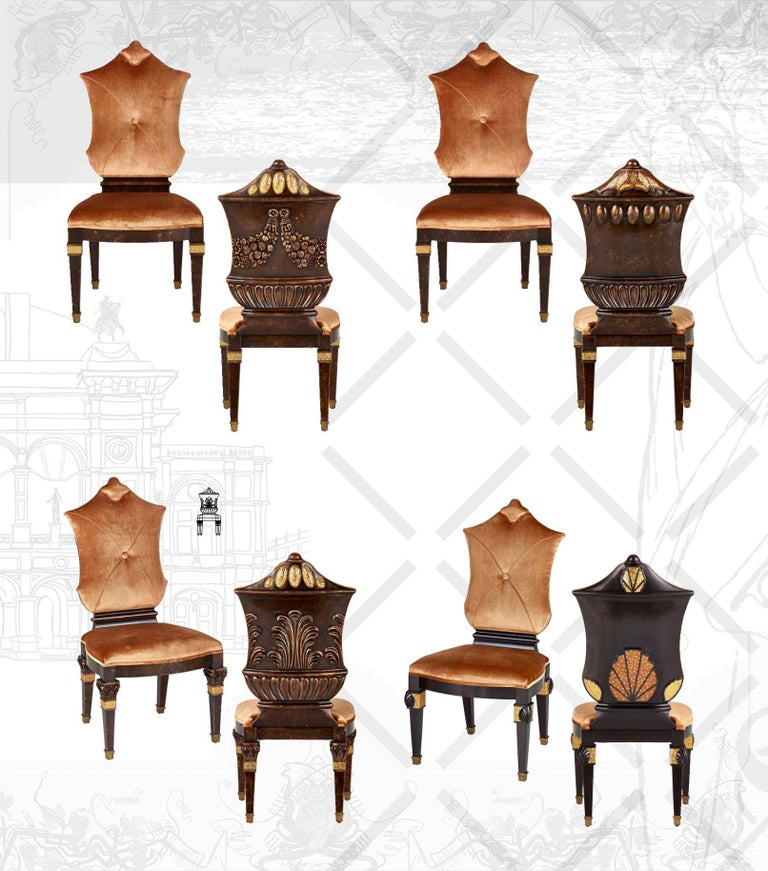 Italian Chair Carved Solid Wood Distressed Finish Bronzed Feet Caps Mosaic Insert Legs For Sale
