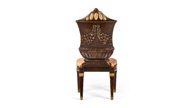 Chair Carved Solid Wood Distressed Finish Bronzed Feet Caps Mosaic Insert Legs In New Condition For Sale In London, GB