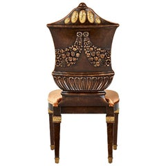 Chair Carved Solid Wood Distressed Finish Bronzed Feet Caps Mosaic Insert Legs