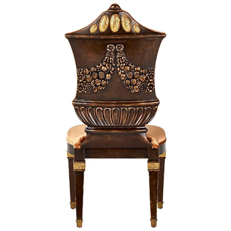 Chair Carved Solid Wood Distressed Finish Bronzed Feet Caps Mosaic Insert Legs For Sale