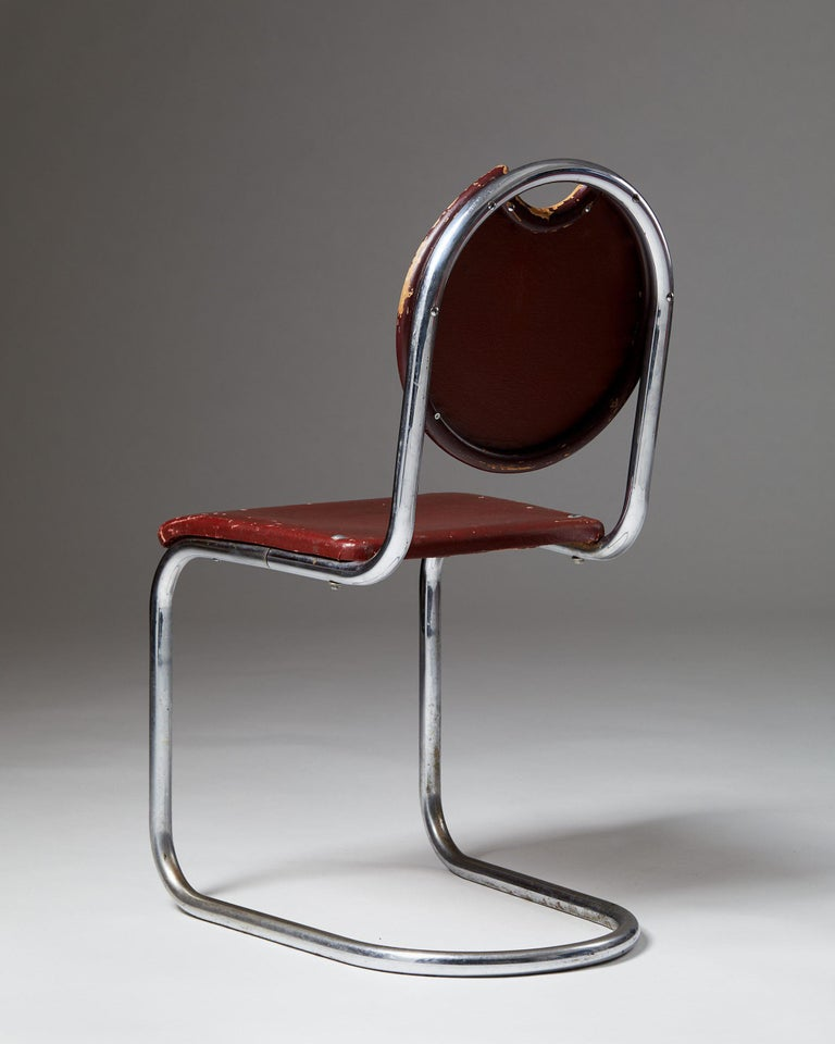 Mid-Century Modern Chair Designed by Sven Markelius for Ds-Staal, Sweden, 1930's For Sale