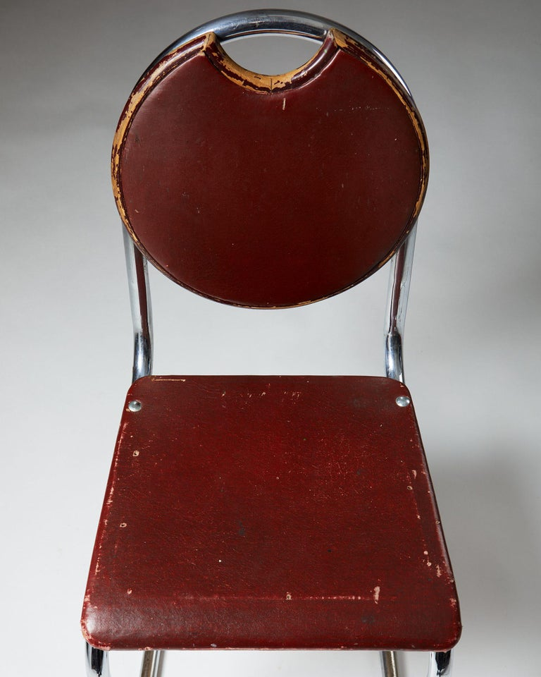 Swedish Chair Designed by Sven Markelius for Ds-Staal, Sweden, 1930's For Sale