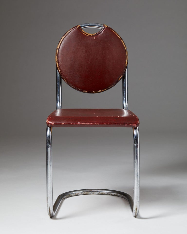 Steel Chair Designed by Sven Markelius for Ds-Staal, Sweden, 1930's For Sale