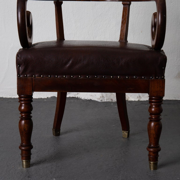 Chair Desk Swedish Mahogany Brown Sweden For Sale 4