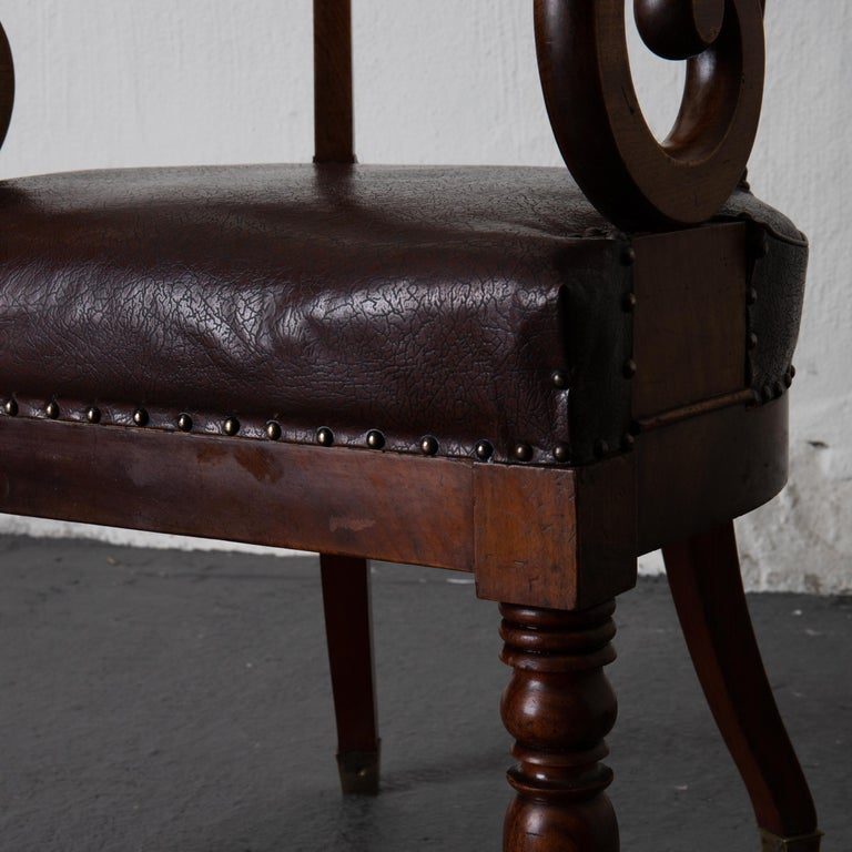 Chair Desk Swedish Mahogany Brown Sweden For Sale 6